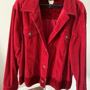Red blazer accented with beautiful buttons